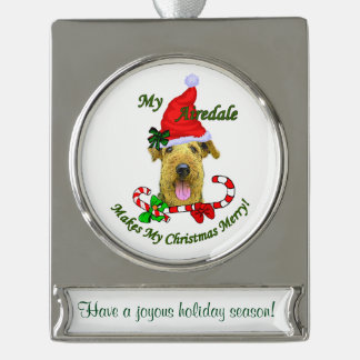 Airedale Terrier Personalized Christmas Silver Plated Banner Ornament