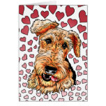 Airedale Terrier Pink Hearts Valentine's Day Greeting Card