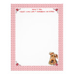 Airedale Terrier Pink Hearts Valentine's Day Letterhead