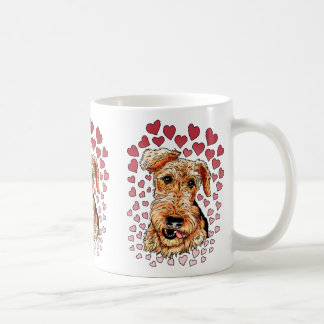 Airedale Terrier Pink Hearts Valentine's Day Mugs