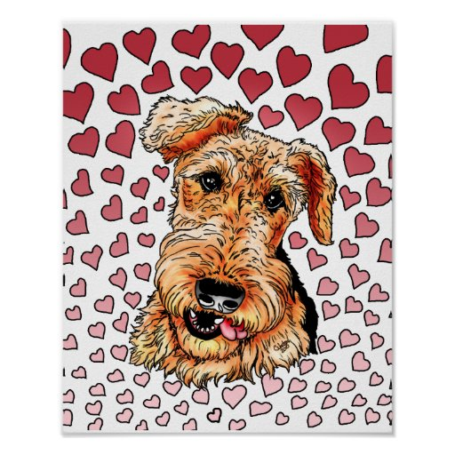 Airedale Terrier Pink Hearts Valentine's Day Poster