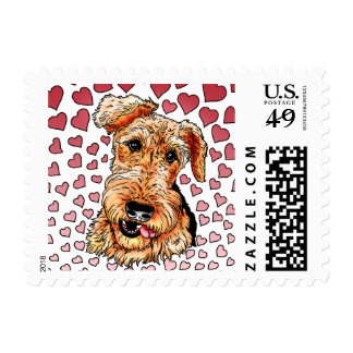 Airedale Terrier Pink Hearts Valentine's Day Stamp