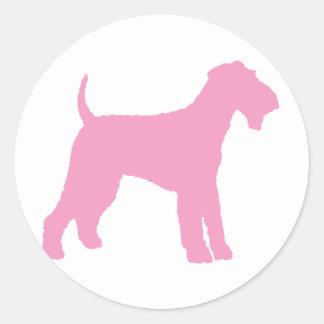 Airedale Terrier (pink) Round Sticker