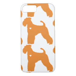Airedale Terrier pop dog art heart silhouette iPhone 8/7 Case