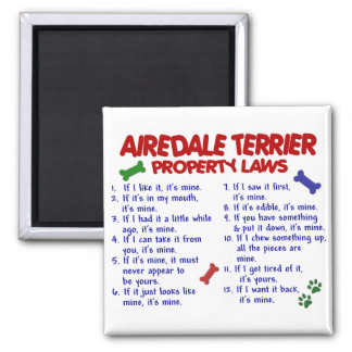 AIREDALE TERRIER Property Laws 2 2 Inch Square Magnet