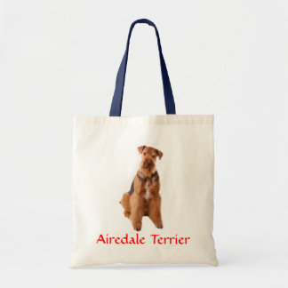 Airedale Terrier Puppy Dog Canvas Beach Totebag Budget Tote Bag