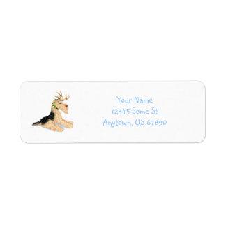 Airedale Terrier Reindeer Labels