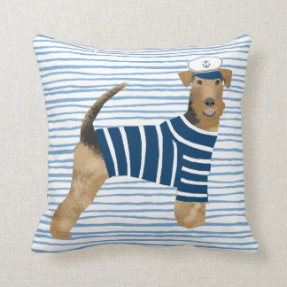 Airedale Terrier Sailor Nautical Dog Throw Pillow