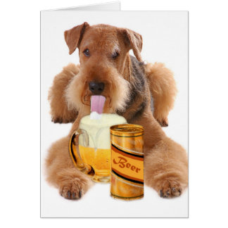 Airedale Terrier  shares a beer Card