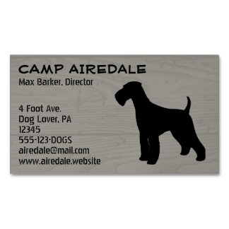 Airedale Terrier Silhouette Business Card Magnet