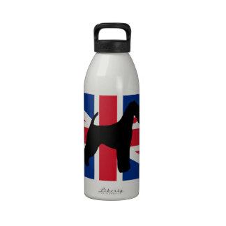 airedale terrier silhouette flag drinking bottle