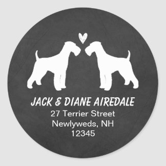Airedale Terrier Silhouettes Return Address Classic Round Sticker