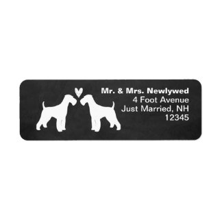 Airedale Terrier Silhouettes with Heart Label