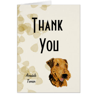Airedale Terrier ~ Tan Leaves Design Greeting Card