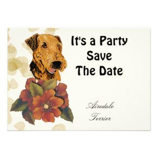 Airedale Terrier Tan Leaves Design Custom Announcements
