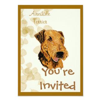 Airedale Terrier ~ Tan Leaves Design Invite