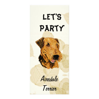 Airedale Terrier Tan Leaves Design Custom Invitation