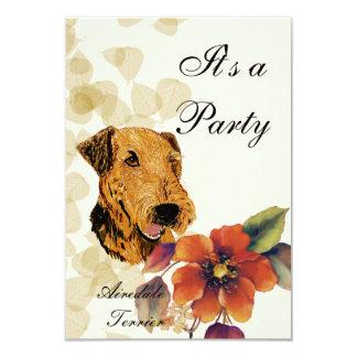 Airedale Terrier ~ Tan Leaves Design Custom Announcements