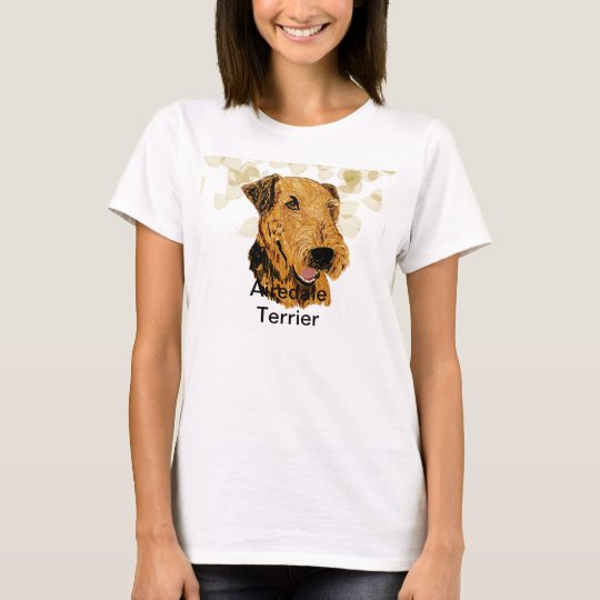 Airedale Terrier ~ Tan Leaves Design T-Shirt