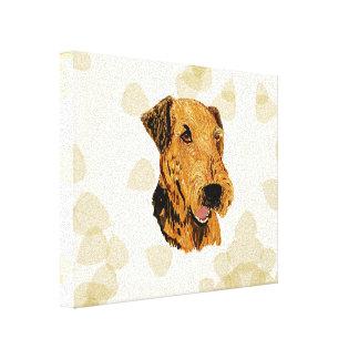 Airedale Terrier ~ Tan Leaves Motiff Canvas Print