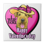 Airedale Terrier Valentines Day Ceramic Tiles