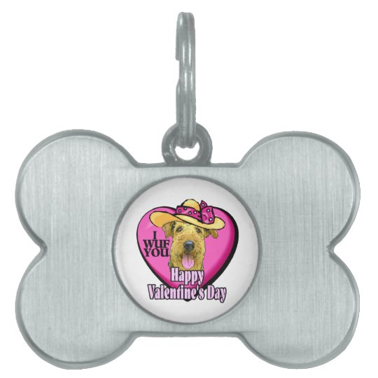 Airedale Terrier Valentines Day Pet ID Tag
