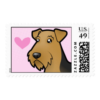 Airedale Terrier / Welsh Terrier Love Postage Stamp