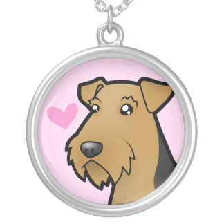 Airedale Terrier / Welsh Terrier Love Silver Plated Necklace