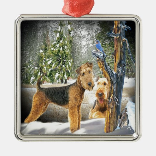 Airedale Terrier Winter Day gifts Metal Ornament