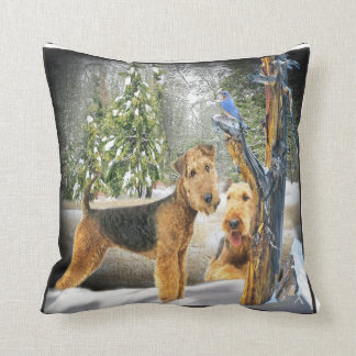 Airedale Terrier Winter Day Pillow