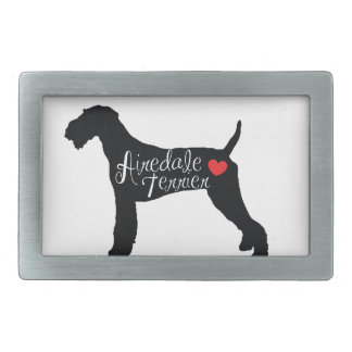 Airedale Terrier with Heart Dog Breed Love Belt Buckle