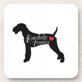 Airedale Terrier with Heart Dog Breed Love Drink Coaster