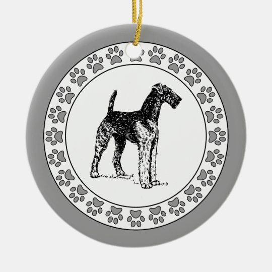 Airedale Terrier with Pawprints Ceramic Ornament