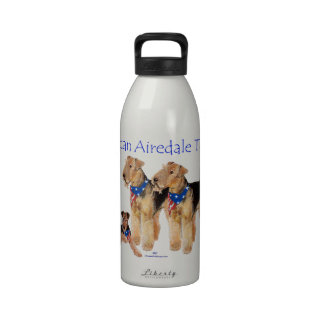 Airedale Terriers American Flag Water Bottle