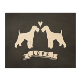 Airedale Terriers Love - Dog Silhouettes w/ Heart Wood Print
