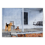 Airedale Terriers on the Veranda Card