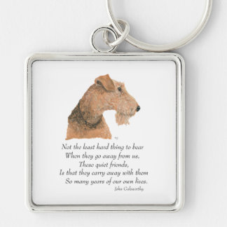 Airedale, Welsh, Lakeland Terrier Keepsake Silver-Colored Square Keychain
