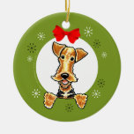 Airedale Welsh Terrier Christmas Classic Ceramic Ornament