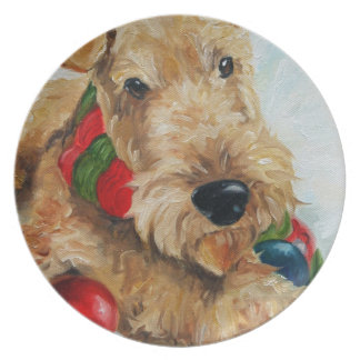 airedale welsh terrier christmas ornaments plate