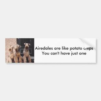 Airedales are like potato ch... bumper sticker