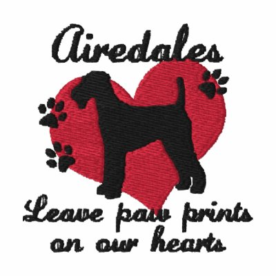 Airedales Leave Paw Prints Embroidered Hoody