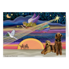 Airedales (two) - Christmas Star Card at Zazzle