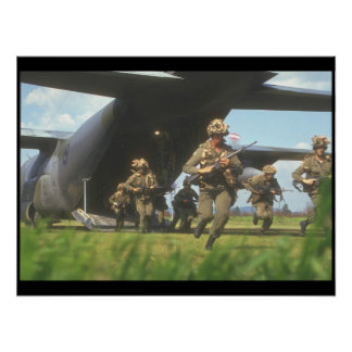 Airfield assault exercise with_Military Aircraft Poster