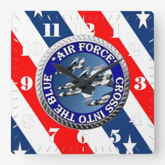 Air Force Illustation Square Wall Clock