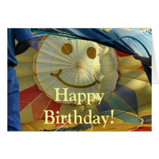 Airial Balloon Inflating Smilie Face Birthday Card