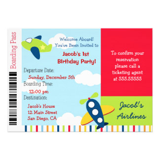 Airline Airplane Ticket Birthday Party Invitation