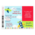"Airline Airplane Ticket Birthday Party Invitation 5"" X 7"" Invitation Card"