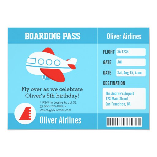 Airline Boarding Pass Birthday Party Invitations | Zazzle