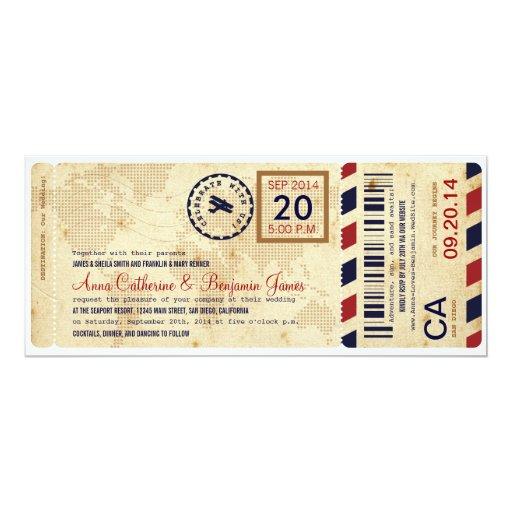 "Airline Boarding Pass Ticket Wedding Invitation 4"" X 9.25"" Invitation Card"