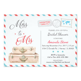 Airline Bridal Shower Invitations Red Blue Travel